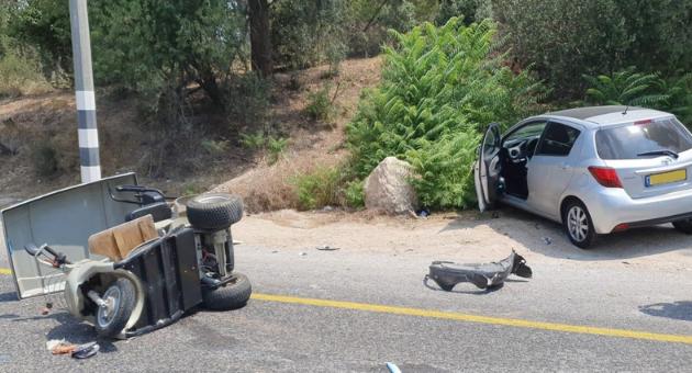 זירת התאונה בכביש 73