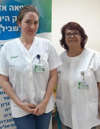 סימה יצחק ונעמה שכטר   צילום: שירותי בריאות כללית